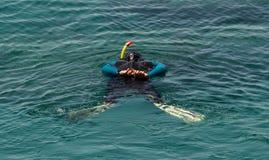 佩戴水肺的潜水培训班 免版税库存照片