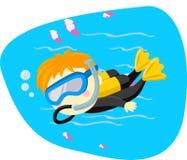 佩戴水肺的潜水孩子 库存照片