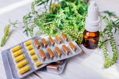 佳肴artemisiifolia过敏 治疗猪草过敏的药片和鼻孔喷射 关心眼睛医疗保健卫生学医学 图库摄影