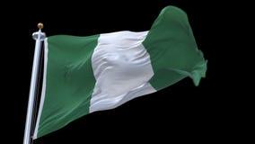 使与旗杆的4k尼日利亚旗子成环挥动在风 包括的阿尔法通道 股票录像