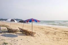 使与沙滩伞的床靠岸, repared为了客人能晒日光浴 库存图片