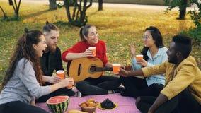 使与饮料的玻璃叮当响然后喝坐在草的毯子的快乐的青年人不同种族的小组 股票录像
