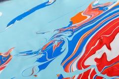 使丙烯酸漆背景有大理石花纹的液体 可变的绘画摘要纹理 免版税库存照片