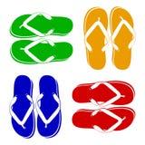 使五颜六色的不同的触发器停止的绳索凉鞋靠岸 库存图片