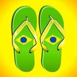 使五颜六色的不同的触发器停止的绳索凉鞋靠岸 免版税库存图片