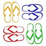 使五颜六色的不同的触发器停止的绳索凉鞋靠岸 图库摄影