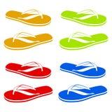 使五颜六色的不同的触发器停止的绳索凉鞋靠岸 免版税库存照片