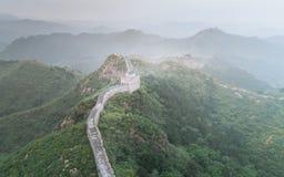 使伟大的Wallï ¼ Œ Morningï ¼ ŒChina东部模糊亚洲被绘的风景  库存图片