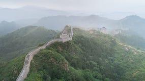 使伟大的Wallï ¼ Œ Morningï ¼ ŒChina东部模糊亚洲被绘的风景  免版税库存照片