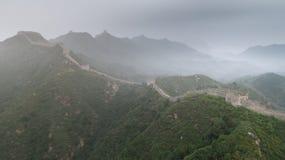 使伟大的Wallï ¼ Œ Morningï ¼ ŒChina东部模糊亚洲被绘的风景  库存照片