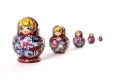 使俄语套入的玩偶 库存图片