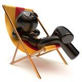 使变冷的松弛无忧无虑的人晒斑使轻便折叠躺椅象靠岸 库存例证
