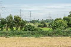 使在米领域的自然日落环境美化与高压杆 库存图片