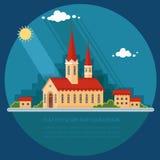使城市的背景的教会环境美化 平的传染媒介illu 免版税库存图片