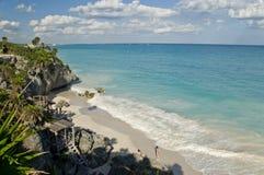 使墨西哥tulum靠岸 库存照片