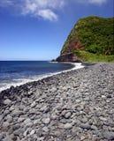 使夏威夷海岛毛伊小卵石靠岸 库存照片