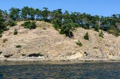 使夜间海岛低和平的水坑沙子浪潮湿的温哥华靠岸 免版税库存照片