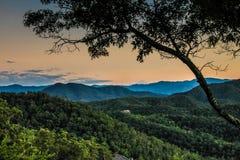 使大烟雾弥漫的山脉国家公园环境美化看法  库存图片
