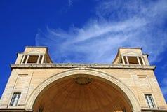 使徒宫殿,眺望楼庭院的门面建筑细节  意大利罗马梵蒂冈 免版税库存图片