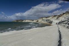 使斯卡拉在西西里人的海岸的dei turchi靠岸 免版税图库摄影