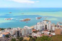 使普腊亚da肋前缘和普腊亚da Sereia,韦利亚镇, Vitoria靠岸, 免版税库存照片