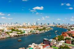 使曼谷市,昭拍耶河,曼谷,泰国环境美化 库存图片
