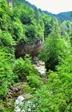 使有大岩石的山河环境美化在岸 免版税图库摄影
