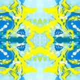 使有大理石花纹的无缝的样式的浅兰和黄色 库存照片