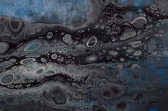 使有大理石花纹的海洋抽象背景 液体丙烯酸酯的大理石样式 库存图片