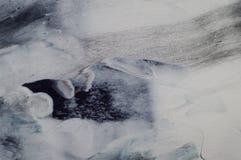 使有大理石花纹的海洋抽象背景 液体丙烯酸酯的大理石样式 免版税库存照片