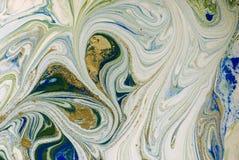 使有大理石花纹的蓝色、绿色和金抽象背景 液体大理石样式 免版税库存照片