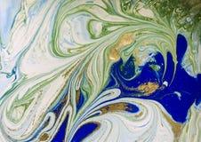 使有大理石花纹的蓝色、绿色和金抽象背景 液体大理石样式 免版税图库摄影