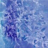 使有大理石花纹的蓝色呈杂色的水彩摘要手画背景 免版税库存图片