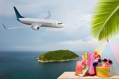 使有棕榈树和乘客飞机着陆的ab辅助部件靠岸 库存照片