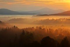 使有薄雾的早晨环境美化 与雾的早晨landspace 在横向的日出 在日出期间的太阳在捷克国家公园Ceske Svycars 免版税库存图片