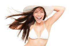 使比基尼泳装乐趣节假日白人妇女年&# 图库摄影