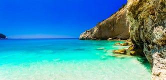 使波尔图Katsiki海滩惊奇绿松石海  莱夫卡斯州海岛, Gr 免版税库存图片