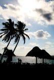 使海岸线墨西哥剪影靠岸 免版税库存照片