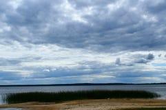 使湖的看法环境美化用水和植物岸的,芦苇和阴沉的蓝色云彩在天空 库存照片