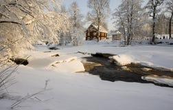 使瑞典冬天环境美化 库存图片