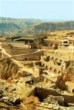 使瓷房子lijiashan山西村庄陷下 库存图片
