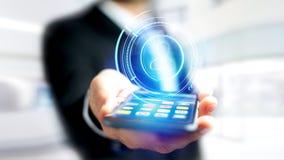 使用一个智能手机的商人有攀爬technologic网络的 免版税库存照片