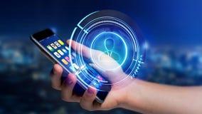 使用一个智能手机的商人有攀爬technologic网络的 库存图片