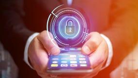 使用一个智能手机的商人有攀爬technologic衣物柜的 免版税库存图片
