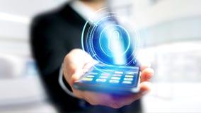 使用一个智能手机的商人有攀爬technologic衣物柜的 免版税库存照片