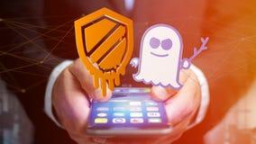 使用一个智能手机的商人有熔毁和幽灵proce的 免版税库存照片