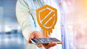 使用一个智能手机的商人有熔毁处理器攻击的 免版税库存图片