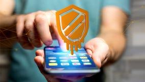 使用一个智能手机的商人有熔毁处理器攻击的 免版税图库摄影