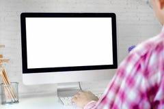 使用一台台式计算机的商人 图库摄影