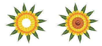使用万寿菊或zendu花和红色玫瑰花瓣被做的花rangoli的储蓄例证屠妖节的或pongal或者onam在wh 免版税库存图片